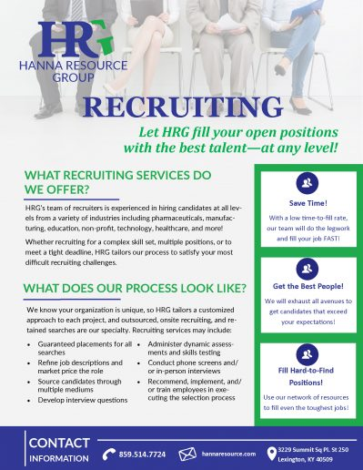 HRG assists our clients, successfully assisting with posting job openings, screening applications & interviewing.