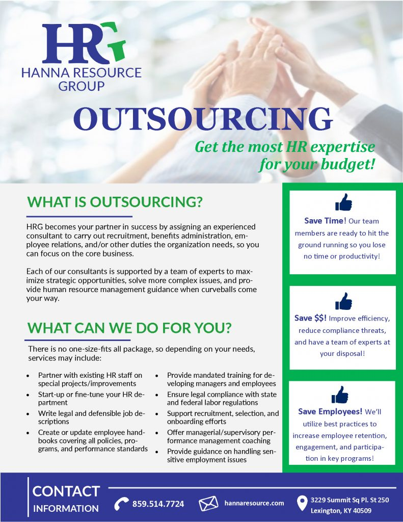 With HR Outsourcing with HRG, we are able to design a strategy that will address the unique needs of your organization.